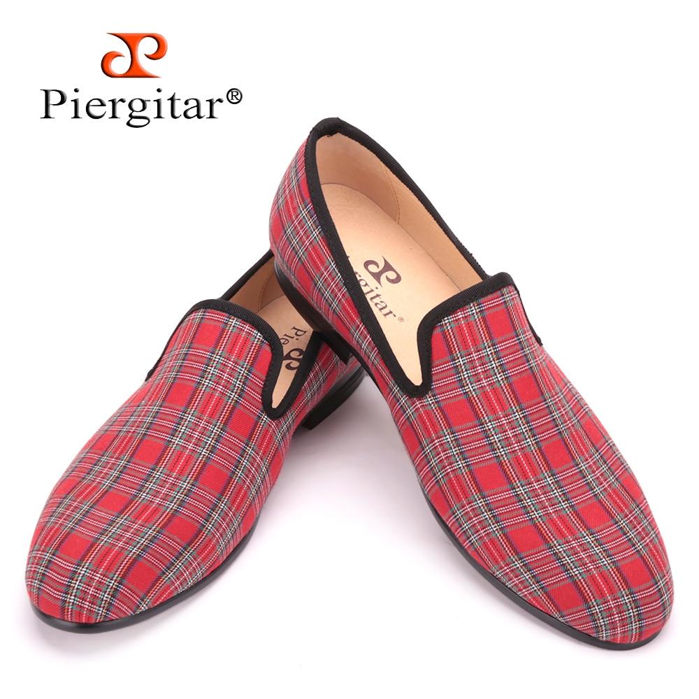 Piergitar 2017 new handmade Scottish Plaid Men Fabric Shoes Men casual loafers Men Plus size Flats