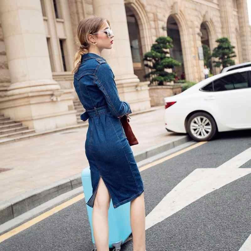 2019 женское джинсовое платье зимние офисные тонкие джинсы большого размера средней длины украшение для манжет Ковбойское платье с поясом для женщин джинсовое платье плюс размер