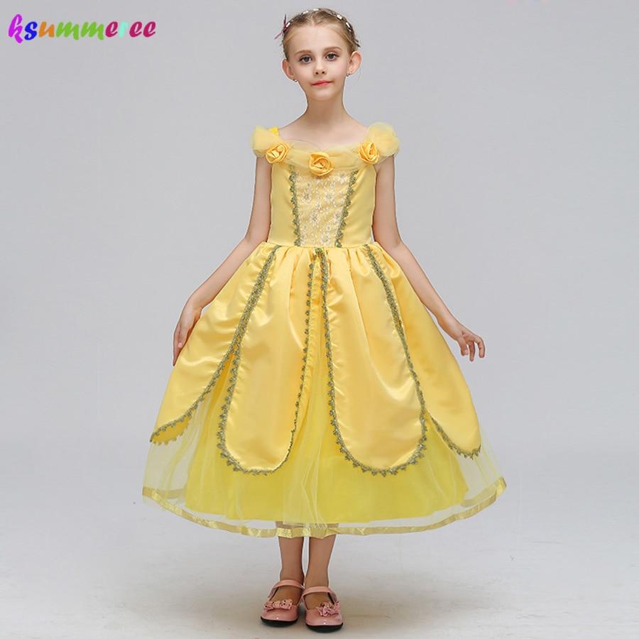 Aliexpress.com : Buy Cartoon Girls Belle Dress Kids Yellow ...
