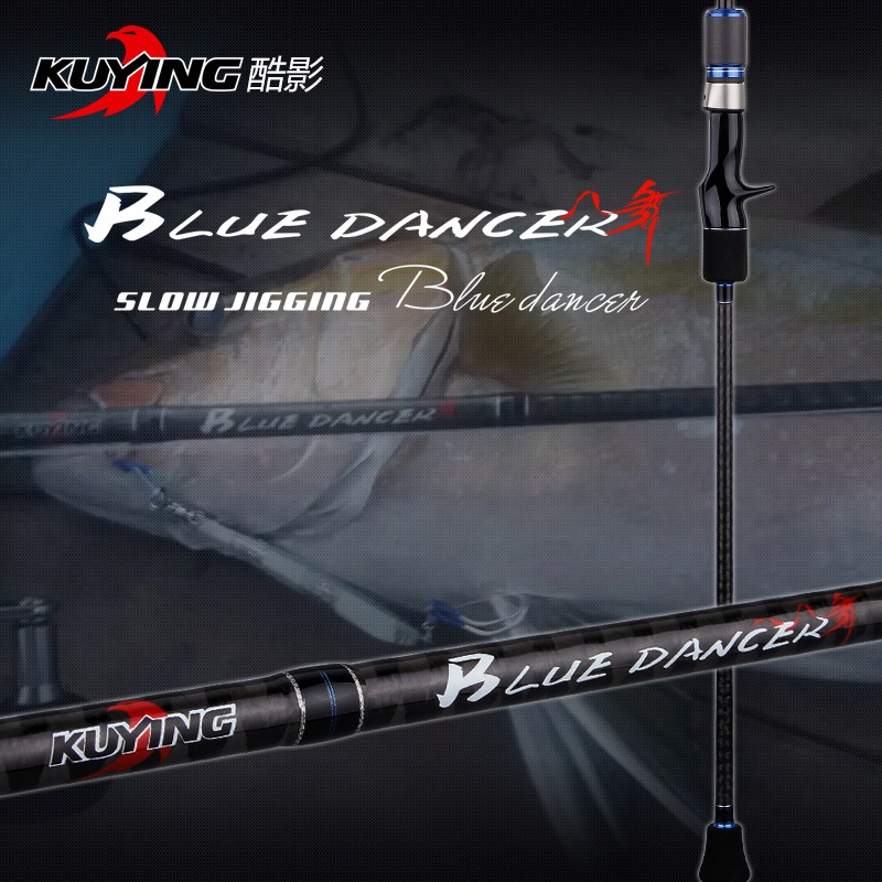 KUYING BLUEDANCER 2.04m Casting Perlahan Jigging Lure Rod Rod Memancing Cane Carbon FUJI Rotate Helical Ring 1 Seksyen 150-400g Lures