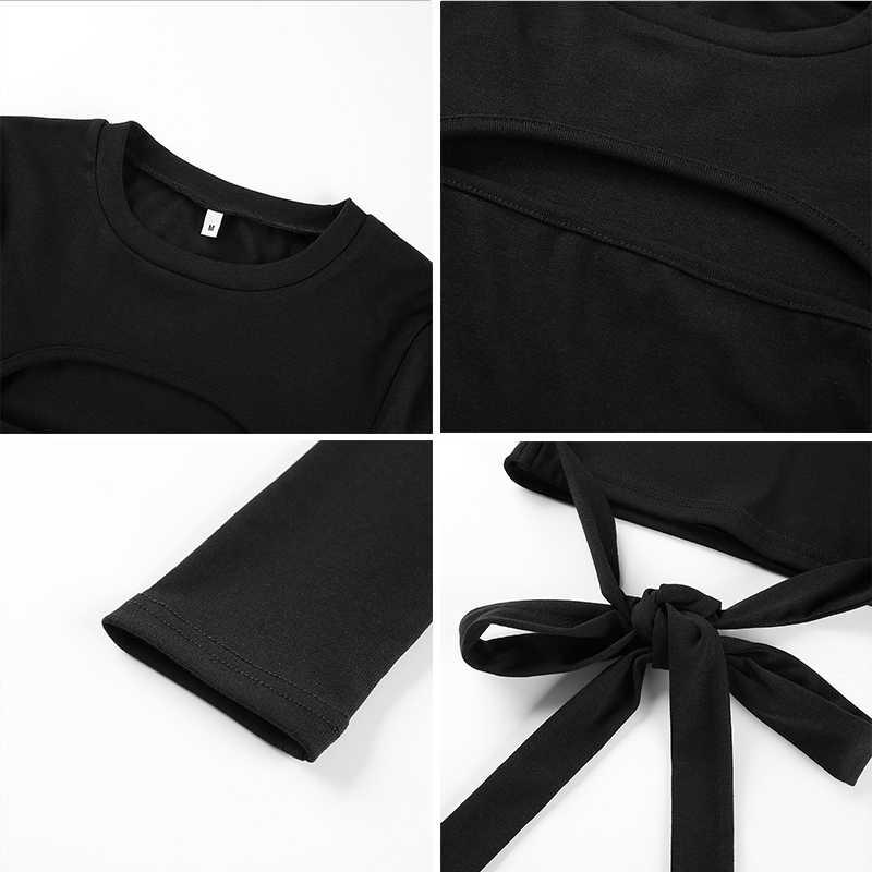 Rockmore gótico Bodycon Criss Cross Bandage camiseta mujer manga larga ahueca hacia fuera Camisetas Mujer Streetwear Crop Tops camisetas otoño