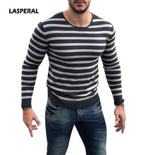 LASPERAL 2018 New Autumn New Slim Fit Black And White Striped Sweater Men Embroidery Thin Knitted Pullovers O Neck Long Sleeves(China)