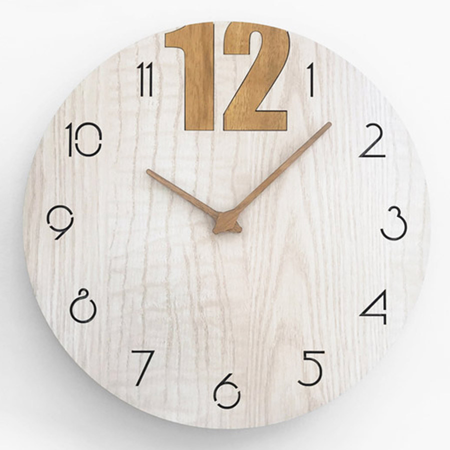 Nordic Wooden Wall Clock Simple Modern Design for Living Room Minimalist 3D Decoration Wood Clocks Wall Watch Home Decor 15 inch
