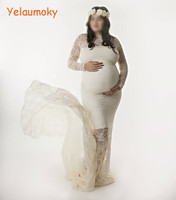 long sleeve Photography maternity lace dress photo props woman pregnant lace gowns Girls wedding party beach dress[Yelaumoky]