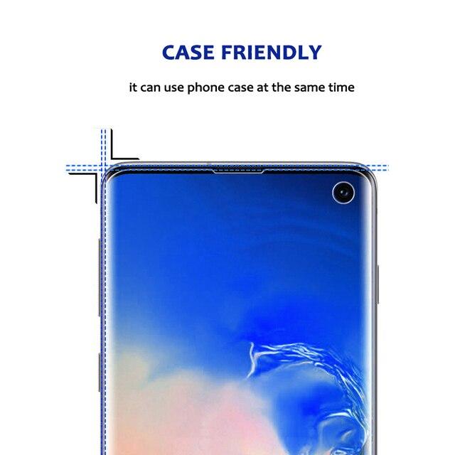 Protection décran UV pleine colle pour Samsung S10e Plus S8 S9 Plus Note 9 verre trempé couverture complète liquide UV léger HW Mate 30 Pro