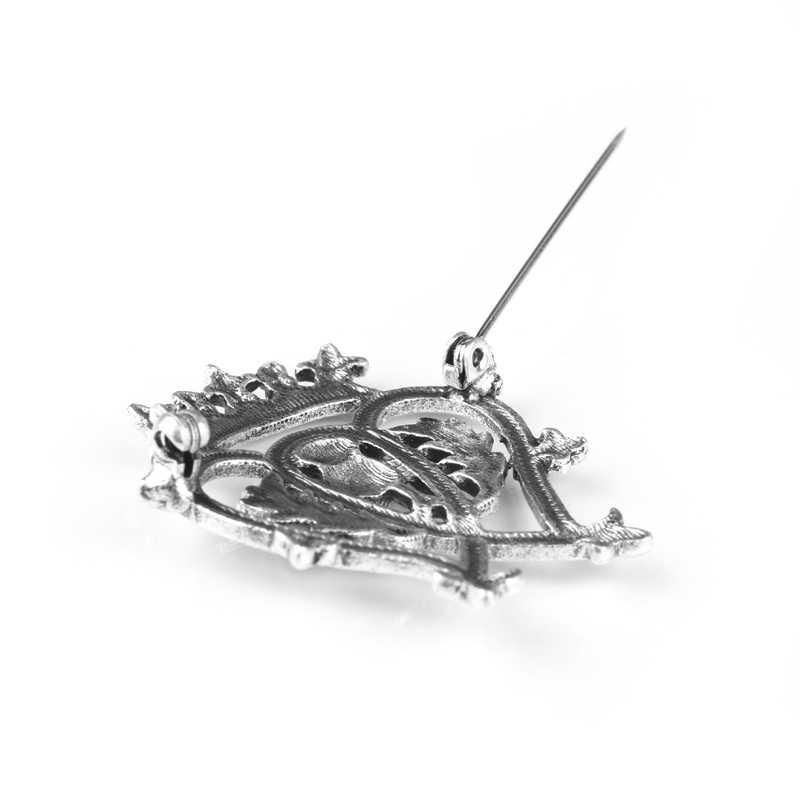 Dongshen wanita Fashion Outlander Thistle Skotlandia Bros Bunga Crown Jantung Badge Pins untuk Pria Wanita Bros Cosplay Gift-40