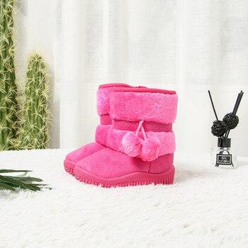 ņ�の子供ブーツスパンコール革女の子の雪のブーツベビーシューズノンスリップ足首ブーツ毛皮ファッションぬいぐるみウォーム子供ラバーブーツ