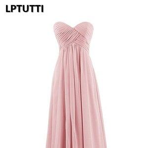 Image 4 - Lptutti strapless chiffon plus size novo para as mulheres elegante data cerimônia festa de formatura formal vestido de gala luxo longo vestidos de noite