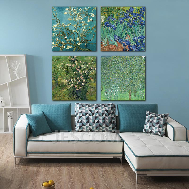 4 Piece Almond Blossom and Iris Van Gogh painting Famous Oil Painting Print for Study <font><b>Bed</b></font> Room Living Room Wall Decor Framed