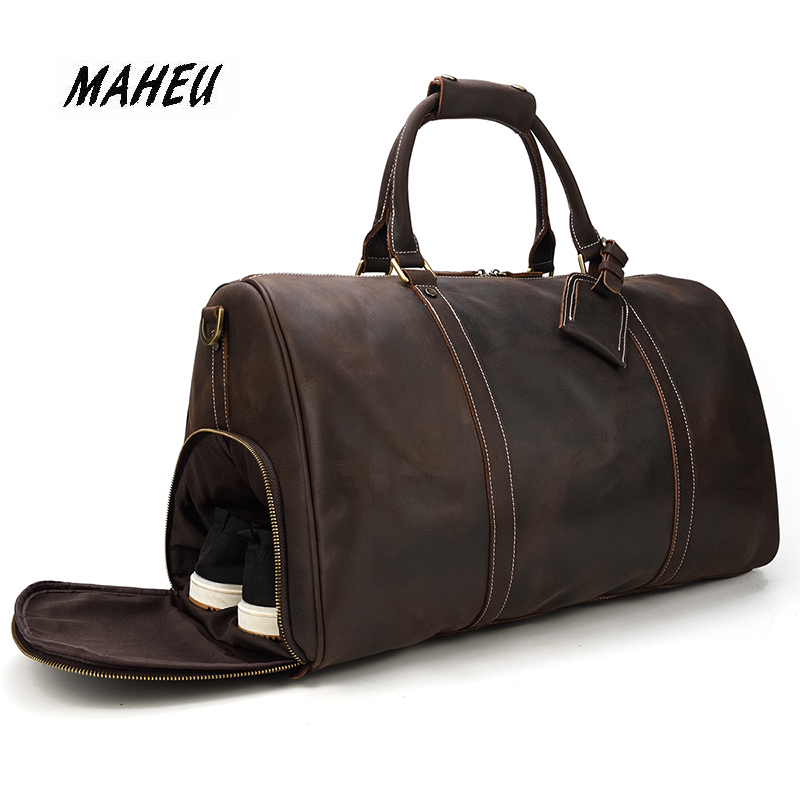 Men Vintage Crazy Horse Leather Travel Bag Big Real Leather Weekend Bag Zip Around Cow Leather