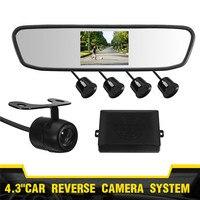 4.3 inch mirror Rearview Backup Camera With Night Vision Car Rear View 4 Parking Sensors Reverse Sensor Alarm Camera System