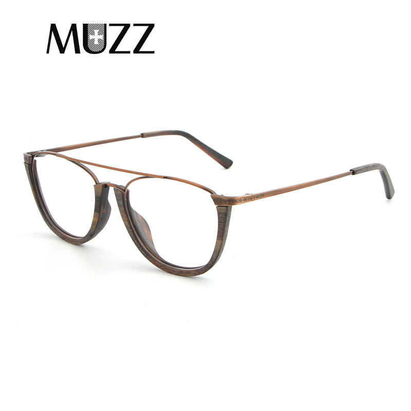 Image 3 - MUZZ Glasses Frame Wood Optical Glasses For Unisex Wooden Temple Frame Semi Rimless Eyeglasses Acetate Frames Men Spectacles-in Women's Eyewear Frames from Apparel Accessories