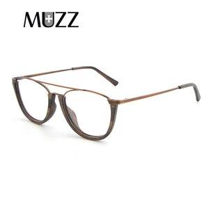 Image 3 - MUZZ деревянная оправа для очков, унисекс, полуоправа для деревянных дужек, без оправы, ацетатная оправа, мужские очки
