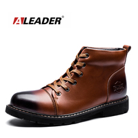 ALEADER Luxury Brand Ankle Boots Autumn Genuine Leather Men Shoes Lace Up British Stylish Dress Boots