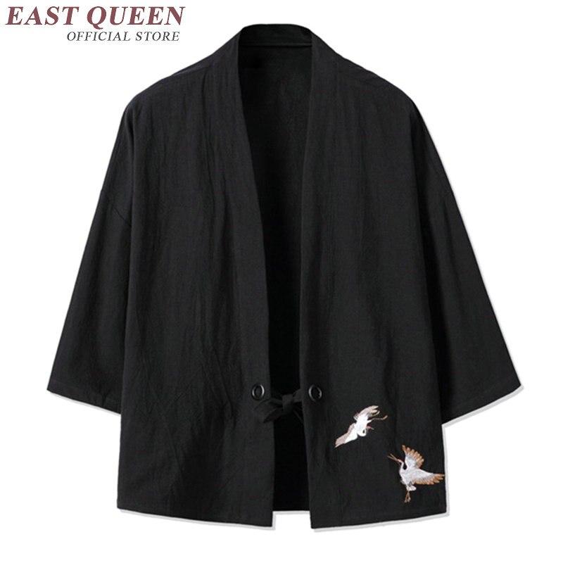 Traditionnel japonais pour hommes vêtements hommes japonais kimono traditionnel japonais vêtements hommes haori obi mâle yukata AA2347 Y