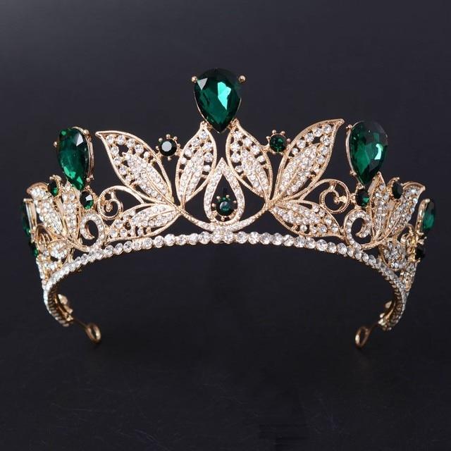 Vintage Green Red Rhinestone Bridal Tiara Fashion Golden