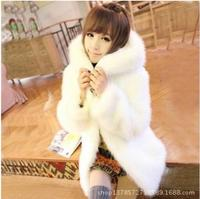 Autumn and winter artificial fur new imitation fur coat Korean version of imitation rabbit hair hooded plush cute long coat
