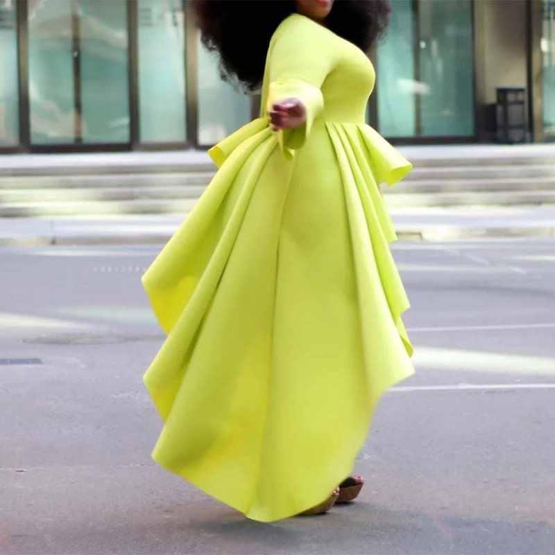 Été décontracté grande taille élégant africain noir filles femmes Blouses Slim plaine Falbala longs hauts femme femme 2019 Chic chemises