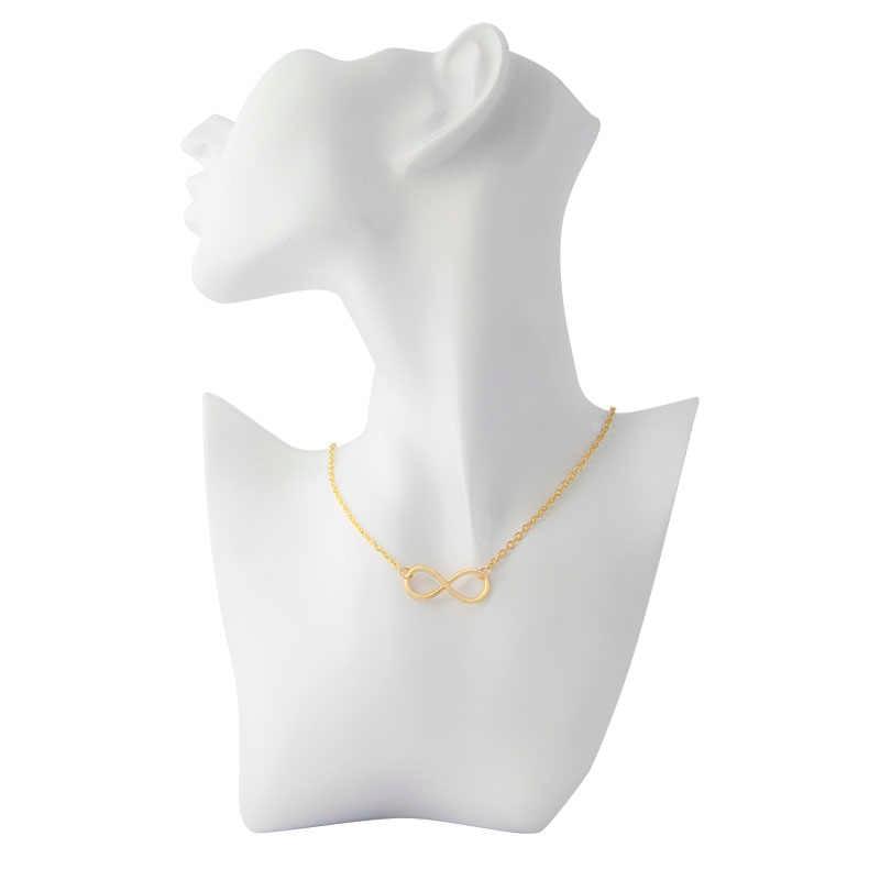 Đơn giản Thiết Kế Vòng Cổ Cho Phụ Nữ Bạc Infinity Hình 8 Vòng Cổ Mặt Dây Chuyền Rèn Liên Kết Dây Chuyền Collier Quà Tặng Trang Sức Bijoux