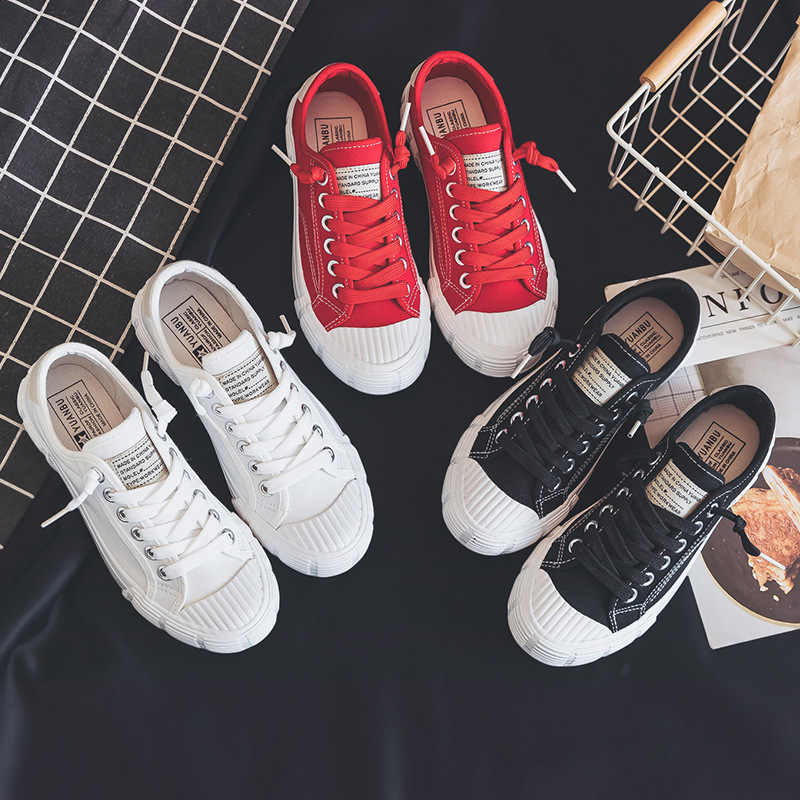 dc75893a83d Women Canvas Shoes Solid Color 2019 Spring New Lady Stylish Sneakers ...