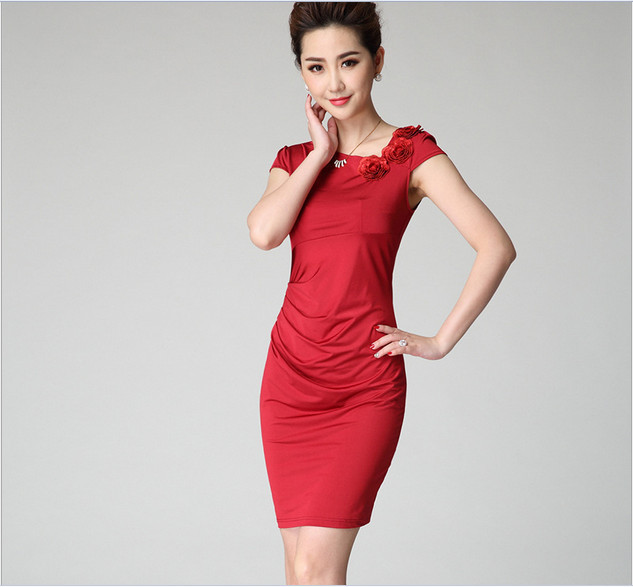 lady red slim ft simple cosy cool knee-length one-piece summer dress short sleeves - ecogree store