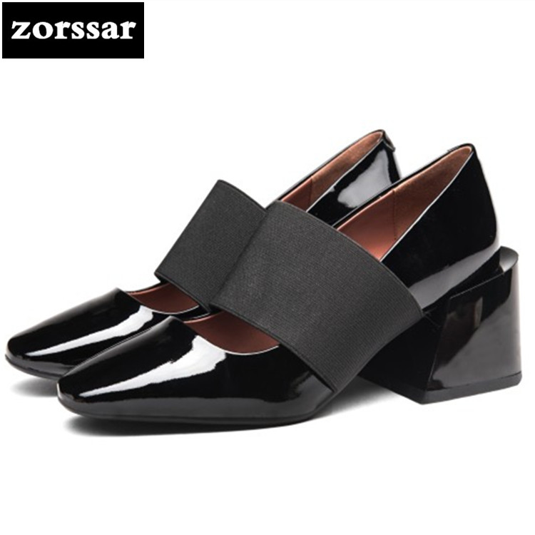 {Zorssar} 2018 New Patent leather women Mary Jane heels pumps Square heel Pointed toe Shallow High heels womens dress shoes купить недорого в Москве