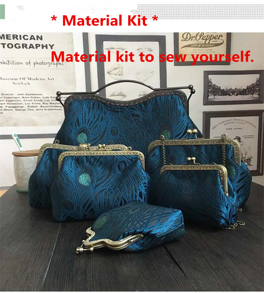 Blue Peacock tail Simulated Silk Fabric Metal Purse Frame Bag Material Kit Clutch Bag Kissing lock Women Handbags