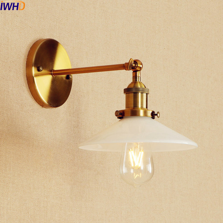IWHD Glass Gold Wall Lamp Vintage LED Edison Style Home Lighting Adjustable Arm Industrial Retro Wall Light Sconce Wandlamp brass glass wall lights led vintage edison american home stair lighting living room adjustable arm industrial wall lamp sconce