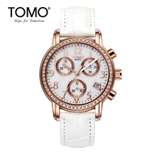 Tomo Fashion Six-pin Watch Female Strap Ladies Watch Waterproof Calendar Girls Watch Rhinestone Fashion White Quartz Watch