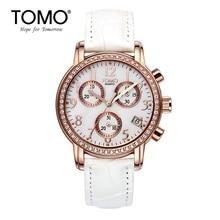 Tomo Fashion Six-pin Watch Female Strap Ladies Watch Waterproof Calendar Girls Watch Rhinestone Fashion White Quartz Watch
