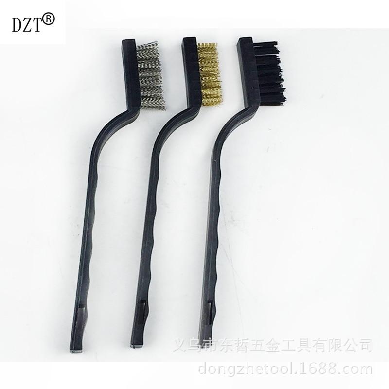 Dzt 3pcs Plastic Handle Stainless Steel Brass Wire Brush