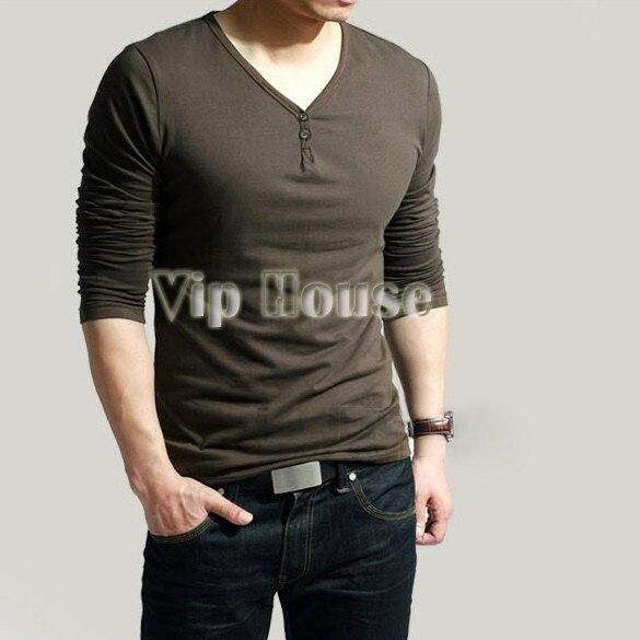 Fashion Slim Fit Men s Comfort Lycra Deep V-Neck Long Sleeves T-Shirt Tunic  Button Tops Tees For Men B11 3519 8282ada47