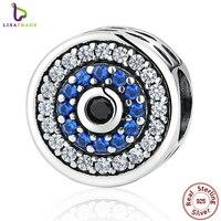 Réel 100% 925 Sterling Argent Bleu Cristaux Yeux Perle Ronde Charmes Fit Femmes Charme Bracelets et Bracelets Bijoux SCC092