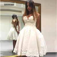 SATONOAKI Short Informal Wedding Dress 2019 Beach White Bride Dresses vestido de noiva Hot Sale 3D Flowers Ball gown