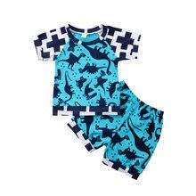 Модный детский костюм для малышей синие футболки с принтом динозавра