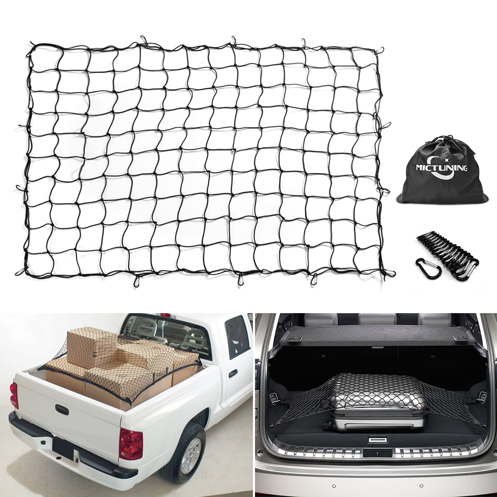 Truck Bed Cargo Net >> Us 57 99 15 Off Mictuning 7 X5 Heavy Duty Bungee Cargo Net Stretch To 14 X10 Truck Bed Mesh 16pcs Carabiners For Loads Tighter Cargo Hitch In Wire