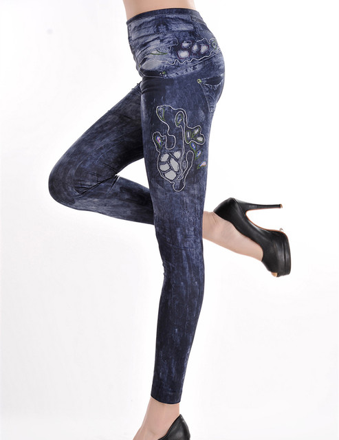 T2392 Popular best selling women leggings push up nueva llegada de la alta calidad denim legging estampado de flores sin fisuras leggings gimnasio