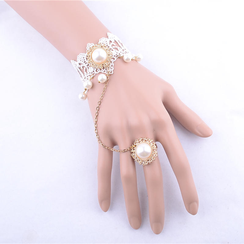 Designer Pink Flower Vintage Bracelets Ring And Bracelet In One Set