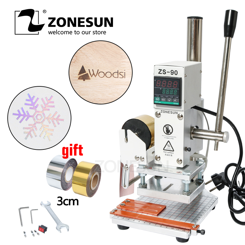 ZONESUN ZS90 Hot Foil Stamping Machine leather Wood Paper Branding Logo Marking Press Machine Leather Embossing