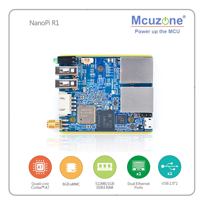 FriendlyELEC NanoPi R1 Allwinner H3 Gbps Ethernet On-board Wifi Bluetooth OpenWRT Cortex-A7 ETHERNET 8GB EMMC