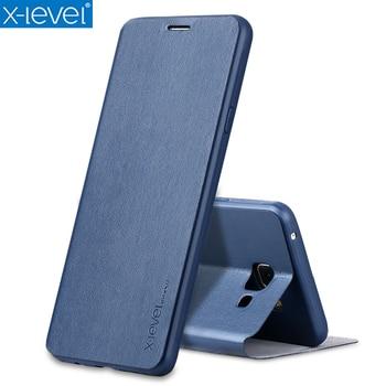 b5beb656b19 X-nivel de libro de cuero Flip para Samsung Galaxy A7 2018 A750 A730 Ultra  delgado A5 2018 A530 de negocios funda de cuero caso de la cubierta