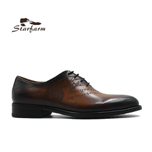 STARFARM Custom Made Men Shoes Hand Painted Brown Cow Leather Formal Dress Shoes size 36 to 46