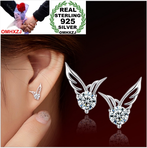 OMHXZJ Stud-Earrings Jewelry Real-925-Sterling-Silver Zircon Wings Angel AAA Fashion