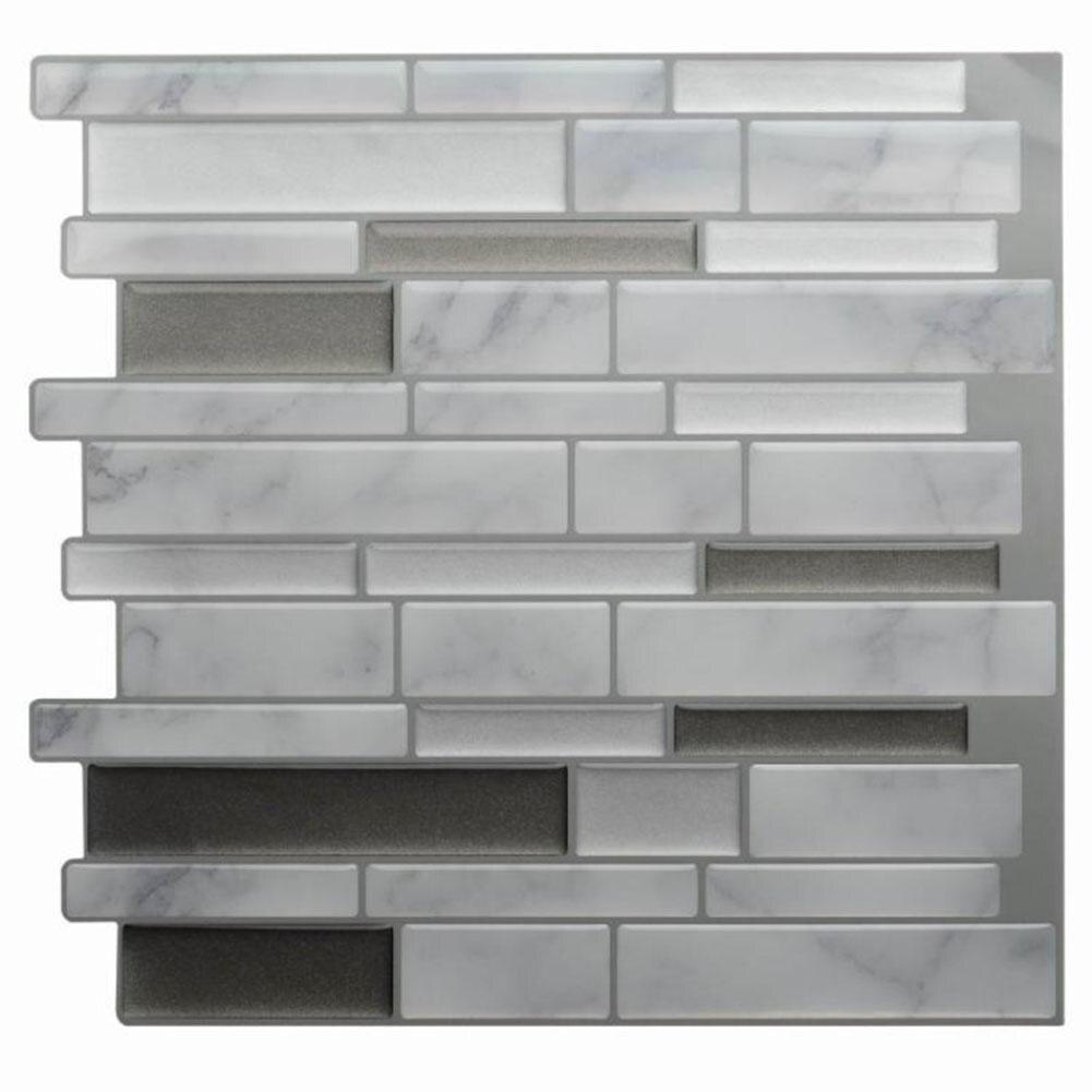 Us 496 7 Off1 Pc Biały Szary Marmur Mozaika 3d Płytki ścienne Naklejki Samoprzylepne Backsplash Diy Kuchnia łazienka Home ścienne Winylowe