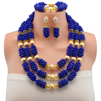 Womens Girls Copper Beads African Beaded Costume Jewelry Sets Blue Luxurious Bridal Wedding Jewelry Sets