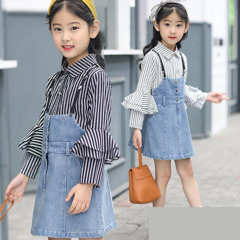 2018 Spring Children Wear Baby Girls Long Sleeved Striped Shirts + Denim Princess Dress 2 Pcs Clothing Set Fashion New Kids Suit 2016 spring new girls sets long sleeved denim jacket with striped lace dress two piece nice quality children clothing set a396