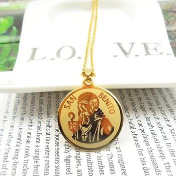 dac0bcf9996 316L Acero inoxidable personalizado inicial SAN BENITO colgante collar  religión cruz cristiana encanto joyería amuleto Europa América