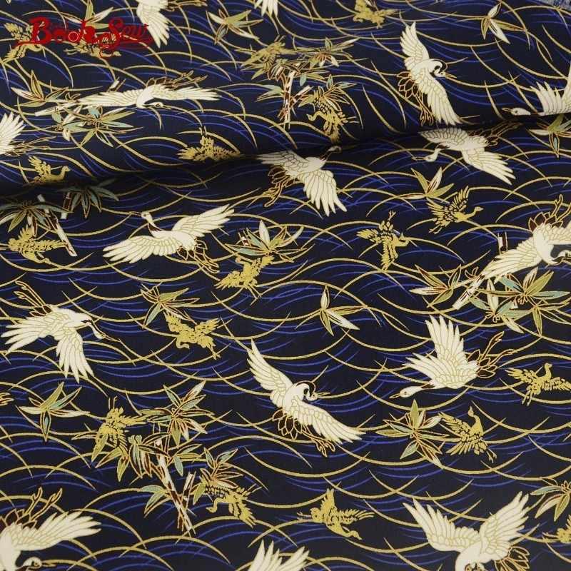 Booksew Linnen Stof Quilten Goud Poeder Kranen Marine Woondecoratie Naaien Patchwork Art Werk Tafelkleed Kussens Ambachten