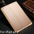 New Top Quality for iPad air2 genuine Leather case for iPad 6 smart sleep protective cover for ipad A1566 A1567 case+film