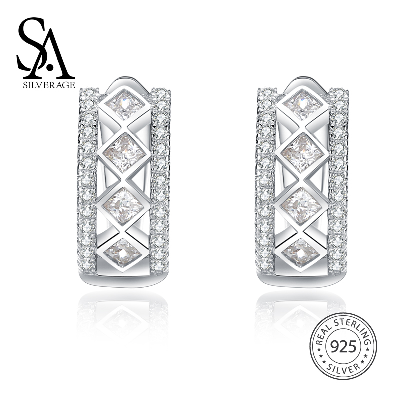 SA SILVERAGE 925 Sterling Silver Luxurious Hoop Earring